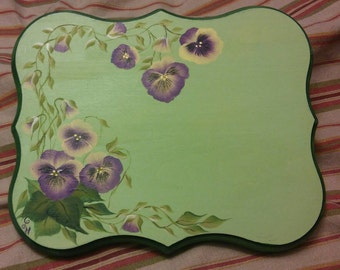 Custom House Number Plaque Sign, Hand painted Vintage Style Pansies