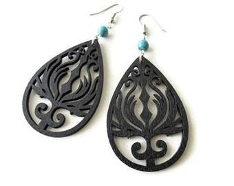Boho Hippie Black Wooden Phoenix Earrings with Turquoise Stone Beads
