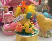 Vintage Style Spun Cotton Head Easter Duck with his Peeps