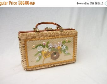 ON SALE 50s 60s Rattan Wicker Purse Princess Charming by Atlas Handbag