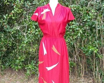 ON SALE 70s Burgundy Red Faux Wrap Dress size Medium Flutter Sleeves Disco Dress