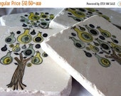 SALE Holiday Pear Tree Tile Coasters - Christmas Home Decor - Holiday Housewarming Gift
