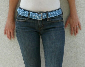Blue and white fabric belt - Women fabric belt - Vegan belt - Blue belt - Fabric belt with metal buckle - Polka dots - Teenager Liebe