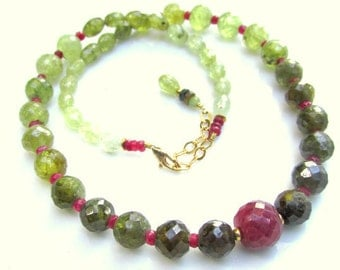 Ruby & Green Garnet Necklace - Faceted Natural Gemstone Beads - Artisan Handmade Jewelry