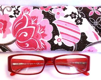 Pink Brown Floral Glitter - EyeGlasses, Sunglasses, Holder, Case, Cozy