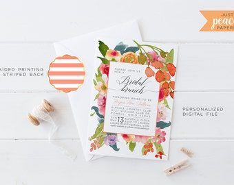 BRIDAL SHOWER invitation | floral bouquet | pink | peach | coral | teal | green | stripe | personalized | print at home