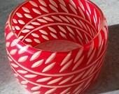 Vintage Bangle - Reverse Carved Red & White