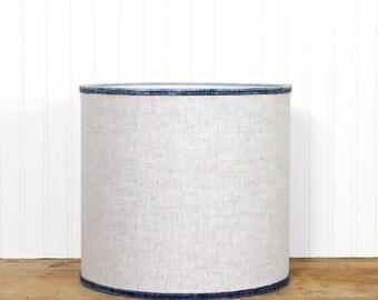 Boho Natural Linen Drum Shade - Rustic - Vintage Hmong - Blue - 12 inch - Table Lamp Shade - Linen Drum Shade