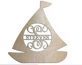Unfinished Wood Boat Name Monogram 18.4 inch tall
