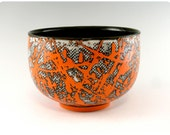 Etched Porcelain Bowl With Splatters
