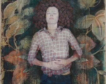 Original Art, Portrait, Girl, Woman, Nature, Celtic, Headdress, Pattern, Texture, Flowers, 8 x 8, Mixed Media, Wood, Panel