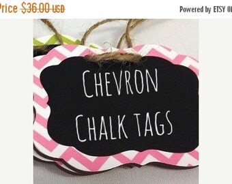 SALE- 6 Chevron Chalkboard Tags with Chalkboard Labels - set of 6 - Basket Labels, Gift Tags, Wedding Chalkboards  26 COLORS