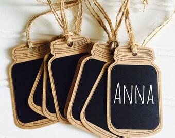 8 Mason Jar Chalkboard Tags, Mason Jar Place Card Holders, Chalkboard Mason Jar Tags
