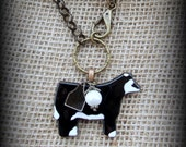 """Glass  Black Baldy Show Steer Cattle Heifer on Long Boho Style leather & Bead Chain  Necklace approx 30"""""""