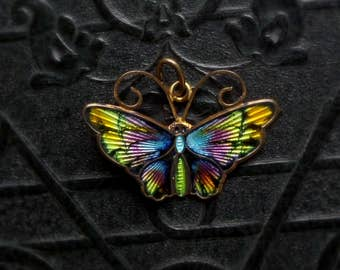 David Andersen Butterfly Pendant. Scandinavian Enameled Sterling Necklace. Norway.