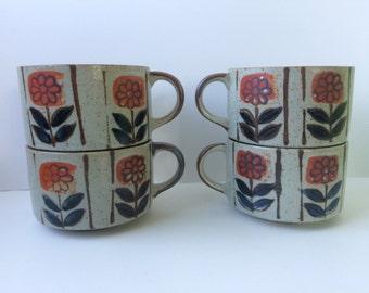 Floral Ceramic Soup Mugs, Set of Four