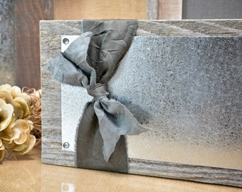 Rustic Wood and Silver Galvanized Metal Display Board