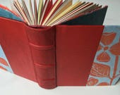 Heirloom Journal, Red Leather with Dogwood print, Multimedia Fine Art Papers, Archival European Case-Binding, Small Handbound Journal