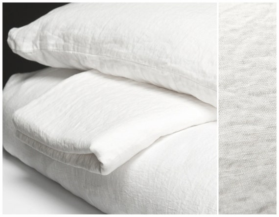 Linen Bed Sheets White Washed Flax Linen Flat Fitted Bedsheets