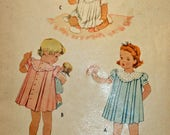 Vintage 1940s, Sewing Pattern, Toddler's Dress, Size 2,  Long, Short or Puff Sleeves,Printed Pattern,  UNCUT, FF