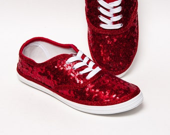 Tiny Sequins - CVO Starlight Red Canvas Sneaker Sparkly Tennis Shoes
