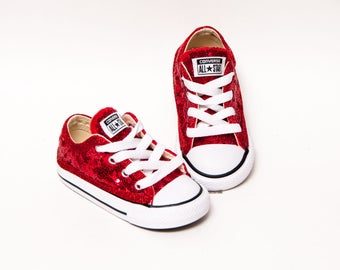 8051fdf6842 Toddler - Tiny Sequin - Size Red Converse Customized Canvas Low Tops  Sneakers Tennis Shoes