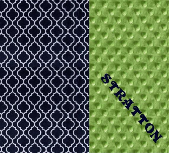 Navy Minky Throw Blanket, Minky Adult Blanket, Personalized Blanket, Green Geometric Throw, Minky Throw Blanket, Navy Blanket, Gift For Her