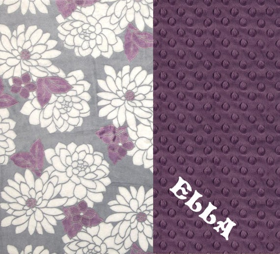 60 x 70 Purple Minky Adult Blanket,  Personalized Flowers Violet Gray Throw