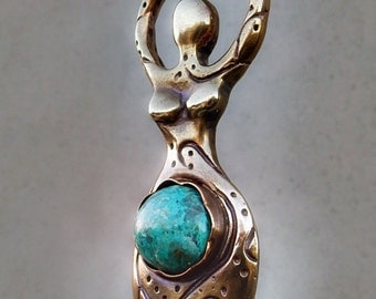 Tranquility Goddess with Chrysocolla, Golden, Lost Wax Cast, Solid, Align your Chakras with the Divine