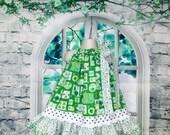St. Patrick's Day Girl Dress 2T/3T Shades of Green White Shamrocks Circles, Squares Pillowcase Dress, Pillow Case Dress, Sundress
