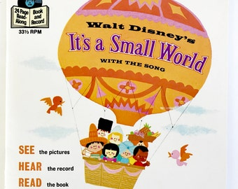 Vintage Walt Disney Children's Record Book It's A Small World Story Song 45 RPM
