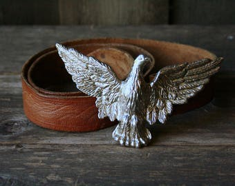 Belt With Eagle Buckle Unusual Unique Vintage Belt From Nowvintage on Etsy