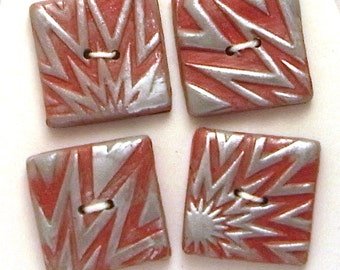 Square Buttons Handmade Polymer Clay 20mm