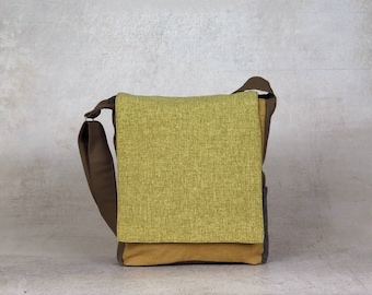 canvas satchel bag - canvas shoulder bag - vegan crossbody bag - work bag - cotton bag - vegan satchel - everyday bag - canvas messenger bag