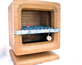 wooden boat automaton, nautical sculpture, fish decor, kinetic wood sculpture, man cave decor, wood clock housing