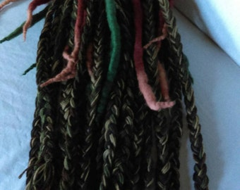 Ready to ship Green Brown Beige Wool Yarn Dreadlock Falls Clubbing Cosplay Easy Install One Of A Kind