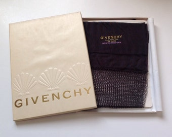 Vintage Givenchy Nylon Stockings Jet Black Fishnet Silky Hosiery Sz Med NIB