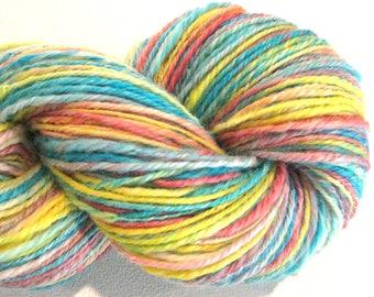Handspun yarn, Sweet Tarts, worsted weight, 3 ply, self striping 296 yards pink blue yellow BFL knitting supplies, crochet supplies, weaving