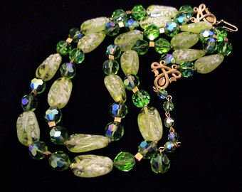 Vintage TRIFARI Double Strand Lime Green Art Glass & Peridot AB Crystal Necklace
