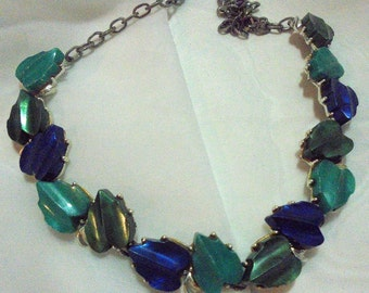 Shades of Green Blue Thermoset Leaf Vintage Necklace