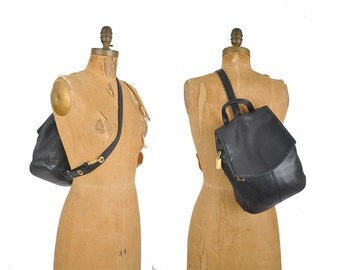 vintage 90s black leather backpack / Tignanello shoulder bag / single strap cross body backpack