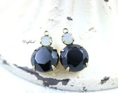 Jet Black & Grey Opal Vintage Round Faceted Stones 18x11mm Swarovski Crystal Earring Drops Connector Brass Settings - 2