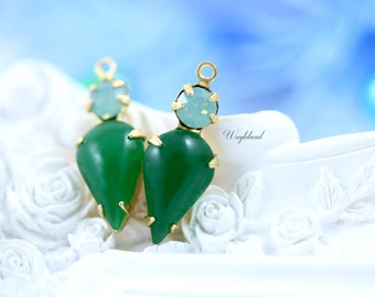 Pacific Green Opal & Emerald Green Earring Connectors Vintage Pear Shaped Set Stones Brass Settings - 2