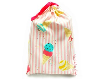 Planner Cover Drawstring Bag Ice Cream Fabric Bag Gift Bag Kawaii Pouch Pink Stripes Planner Accessories Small Tote Bag Planner Bag Case
