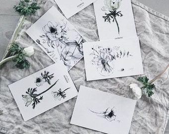 set- 6 postcards with anemone flower print watercolour art decor home ink graphic postcard