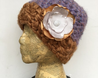 Crocheted Beanie Hat in Lavender and Gold, with Removable Cream and Gold Fabric Flower Pin