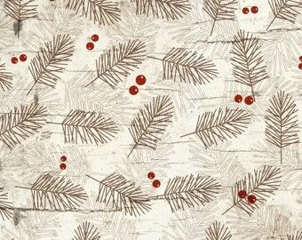Brown, Cream, Branches, Pine, Needles, Fabric, Tan, Neutral, Designer, Cotton, Baby, Boy, Unisex, Girl, Modern, In Custom Cuts