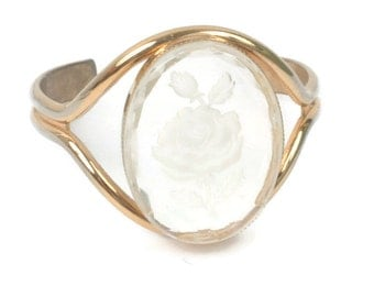 Lucite Rose Cameo Cuff Bracelet Reverse Carved Gold Tone Vintage
