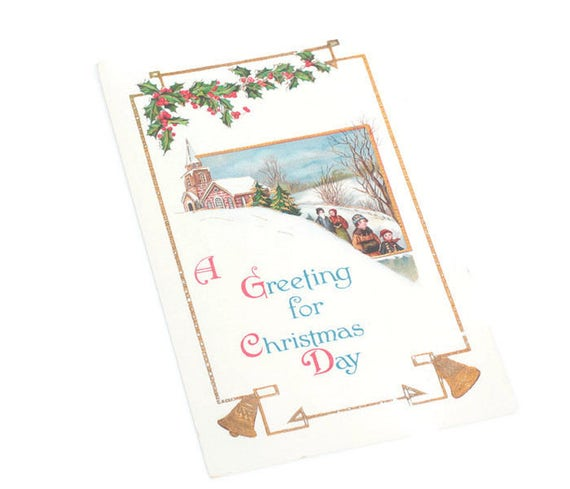 Antique Christmas Postcard Greeting for Christmas Day Embossed Church Holly Bells