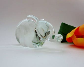 Vintage Glass Elephant Figurine - Heavy Glass Elephant Sculpture Made by Interpur  - Glass Animal Elephant Paperweight - Made in Taiwan